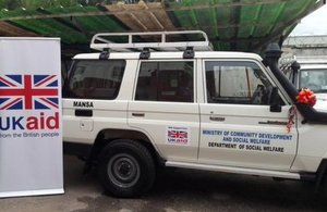 One of the UKaid vehicles donated to Zambia