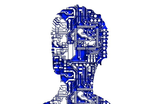 A stylised image showing an outline of a human head in profile filled with computer circuits.