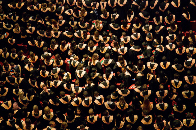 An aerial view of a large number of graduates.