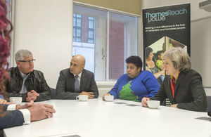 Prime Minister and Sajid Javid at the charity Thames Reach