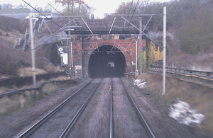 Rear facing CCTV image of Stowe Hill Tunnel (courtesy of Virgin Trains)