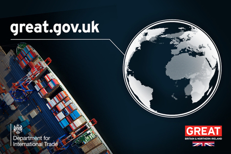 Container ship and great.gov.uk url