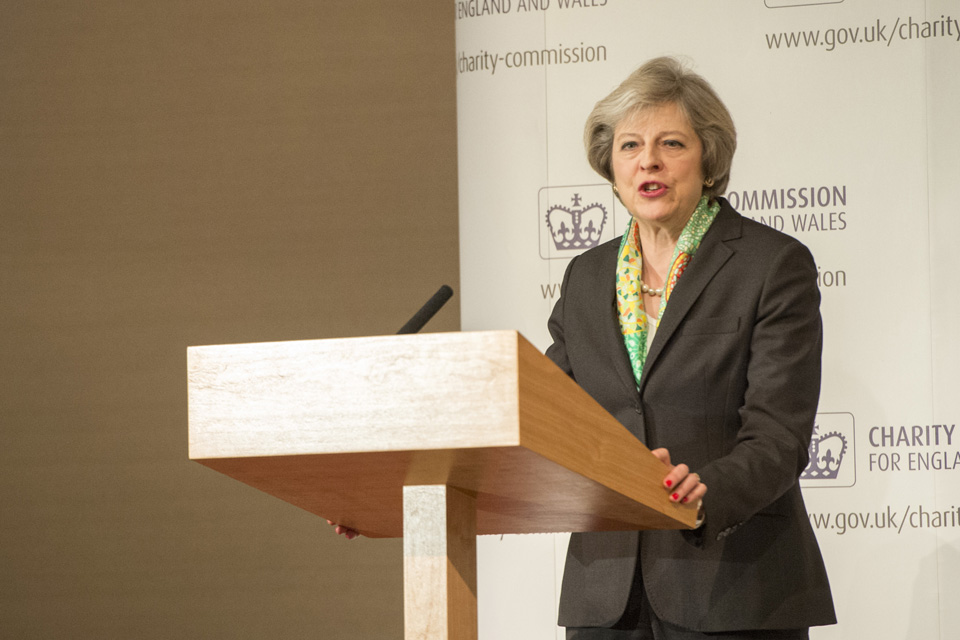 Prime Minister Theresa May speaking at the Charity Commission annual public meeting
