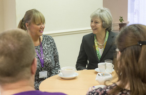 Prime Minister Theresa May meeting staff and service users at The Wellbeing Centre, Aldershot