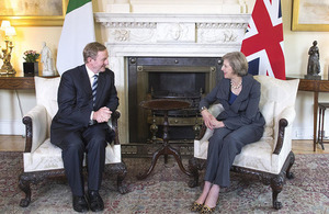 Prime Minister Theresa May speaking with the Taoiseach of Ireland, Enda Kenny, in 10 Downing Street in July 2016