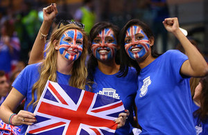 Great Britain fans at Davis Cup match