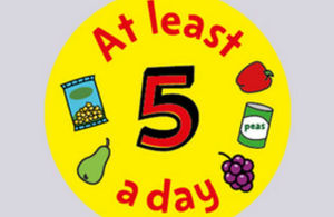 Five a day fruit and veg graphic