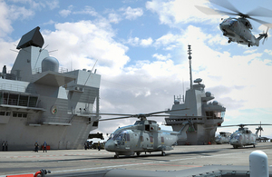 The Merlin Mk2 helicopters. Copyright Aircraft Carrier Alliance/Crown