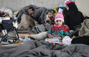 Displaced families taking refuge in a large warehouse in Jibreen, east of Aleppo, Syria. Picture: UNICEF