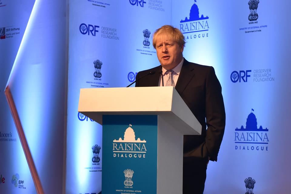 Boris Johnson, Raisina Dialogue - New Delhi