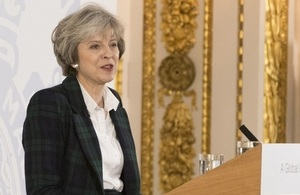 PM Theresa May during a speech