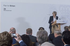 Prime Minister Theresa May speaking about the government's 12 principles for Brexit negotiations