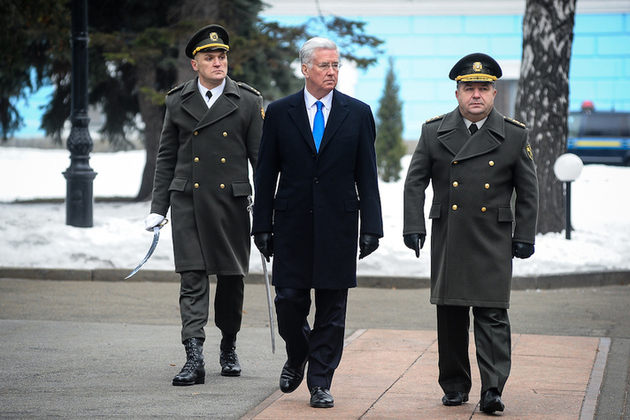 Defence Secretary Sir Michael Fallon has reaffirmed the United Kingdom's commitment to Ukraine