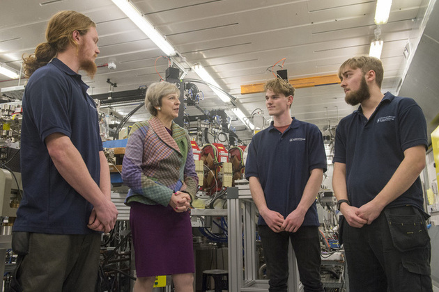 Prime Minister Theresa May speaking to young workers at Sci-Tech in Daresbury
