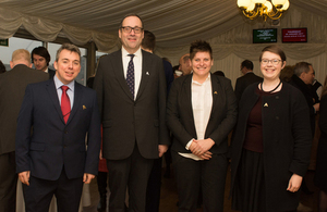 Host Richard Harrington MP,  with employers (left to right) Andrew Brodie, Faccenda;  Elaine Everitt Smith, Leonard Cheshire Disability;  and Mair Roberts, Screwfix/Kingfisher
