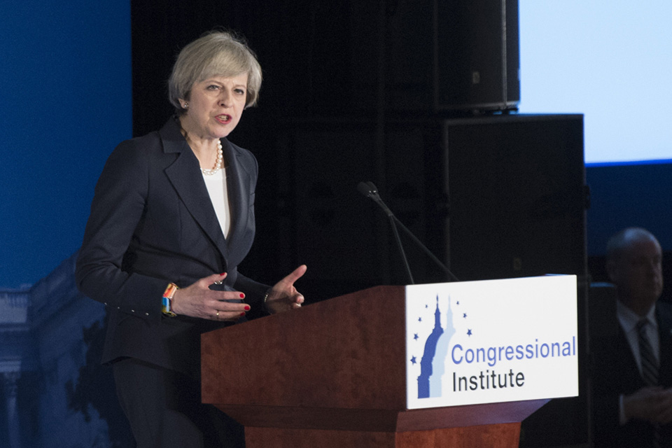 Prime Minister Theresa May speaking at the Republican Party conference