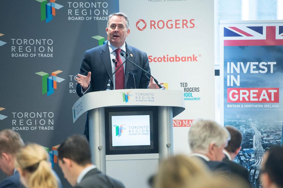 Dr. Liam Fox speaks to Toronto Region Board of Trade (Photo: Jag Gundu)