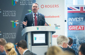 Dr. Liam Fox speaks to Toronto Region Board of Trade (Photo: Jag Gundu)