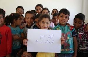 Syrian refugee children in a school in Lebanon