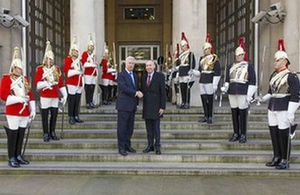 Defence Secretary Sir Michael Fallon welcomed Croatia's Deputy Prime Minister and Defence Minister Damir Krstičević to London. Crown Copyright.