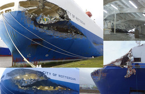 Composite photograph of damage to City of Rotterdam and Primula Seaways