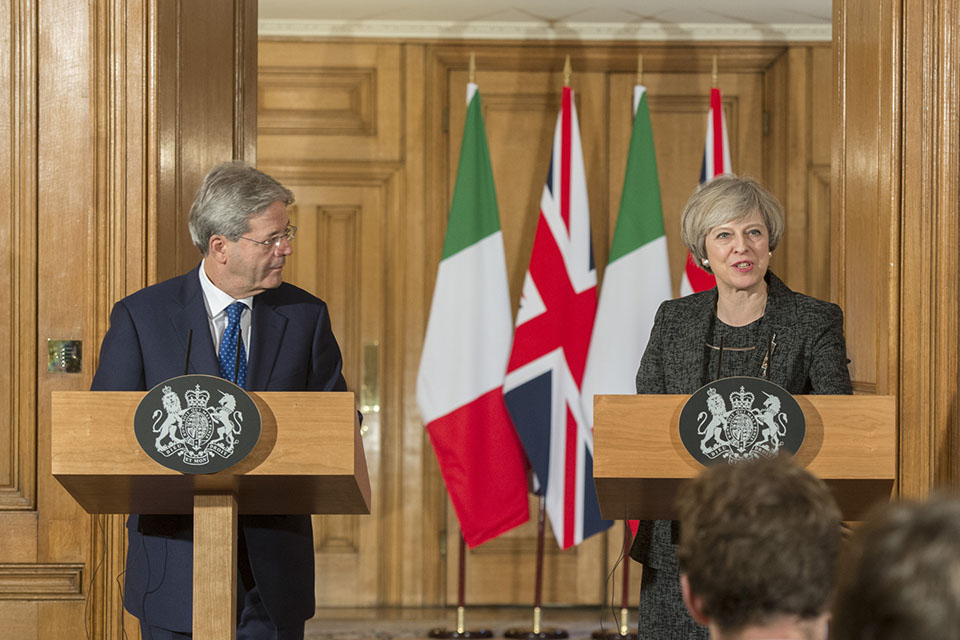 Prime Minister Theresa May at a press conference with Italian Prime Minister Paolo Gentiloni in Downing Street
