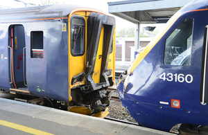 Image showing trains after the accident: 2E68 on the left (courtesy BTP)