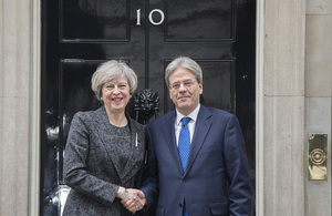 Theresa May and Paolo Gentiloni