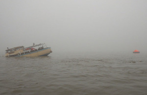 Peggotty following the collision - Image courtesy of RNLI Cleethorpes