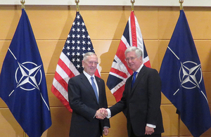 Defence Secretary Sir Michael Fallon held his first meeting with US Defense Secretary James Mattis at the NATO Defence Ministerial. Picture: UK Joint Delegation to NATO.