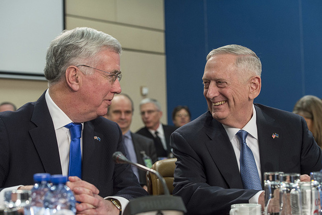 Defence Secretary Sir Michael Fallon met with Defence Ministers, including US Defense Secretary James Mattis. Picture: Office of the Secretary of Defense.