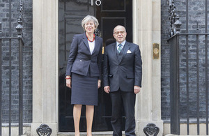 Prime Minister Theresa May and French Prime Minister Cazeneuve outside 10 Downing Street