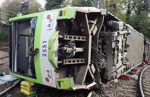 Image of derailed tram at Sandilands Junction
