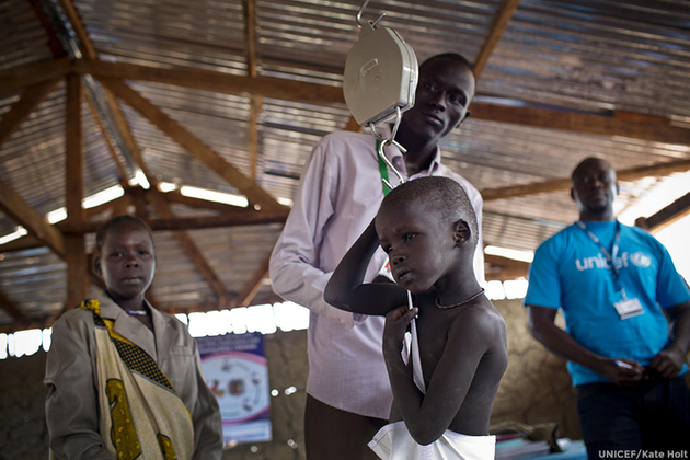 A child being screened for malnutrition in South Sudan. Picture: UNICEF/Kate Holt