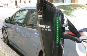 Driverless car at charging point.