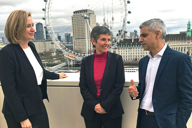 Home Secretary with Cressida Dick and the Mayor of London