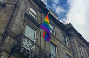 LGBT flag outside the Scotland Office in Edinburgh
