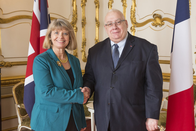 Minister for Defence Procurement Harriett Baldwin with her French counterpart Laurent Collet-Billon at Lancaster House. Crown copyright.