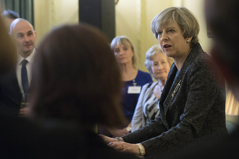 Prime Minister Theresa May speaking at the Shrove Tuesday reception
