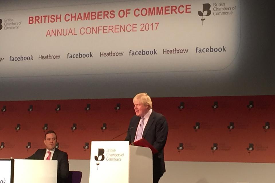 UK Foreign Secretary Boris Johnson, British Chambers of Commerce