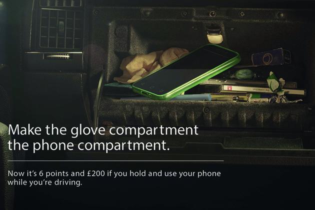 Mobile phone in car glove box.