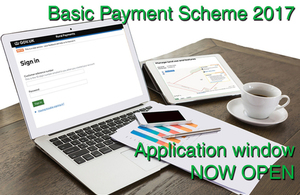 Image showing laptop and the following text Basic Payment Scheme 2017 Applications window now open