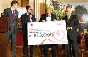 CEO of The Trifactory Ayman Hakky presents cheque to the Magdy Yacoub Heart Foundation