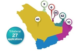 Map showing the location and quantity of applications received after BEIS and the British Council's call out for Institutional Links applications. The UK government will be funding eight of these projects over the next 2 years.