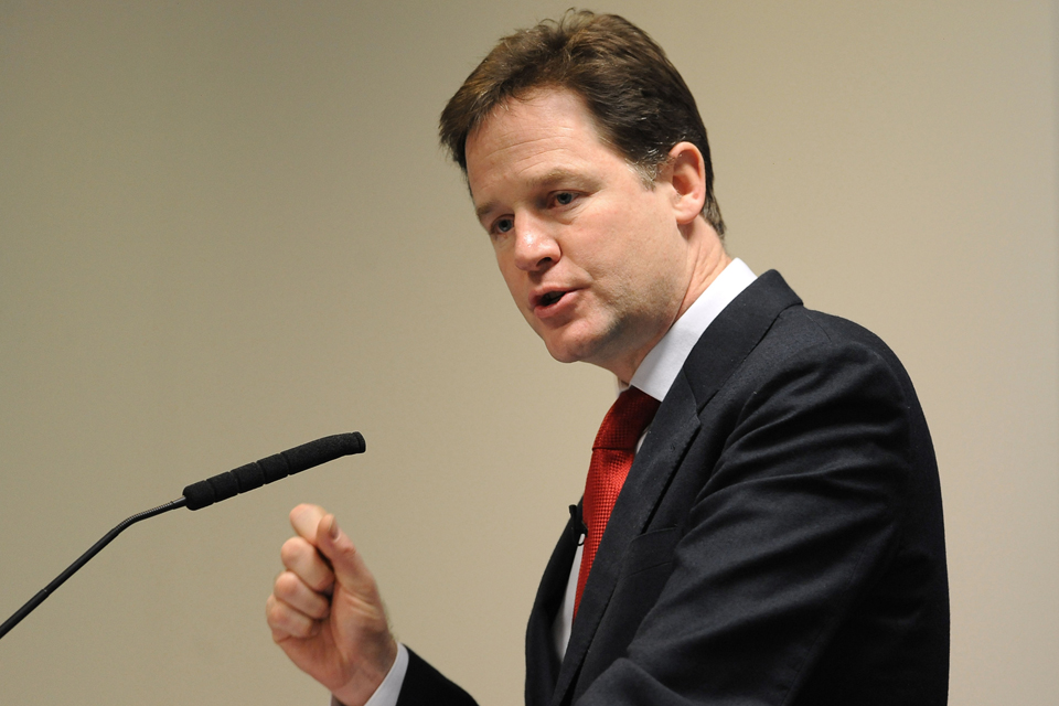 Nick Clegg speaks at the CBI president's dinner. Photo: Joe Giddens/PA Wire.