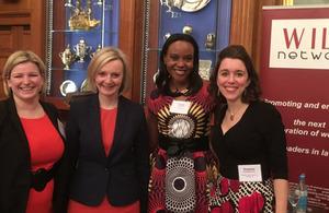 WILL founder Sascha Grimm, Secretary of State Elizabeth Truss, Funke Abimbola and Suzanne Szczetnikowicz.