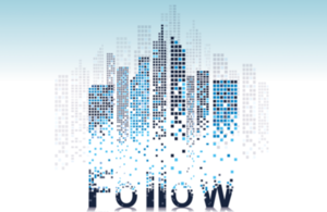 Follow logo in front of digital buildings