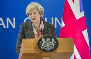 PM May at a press conference