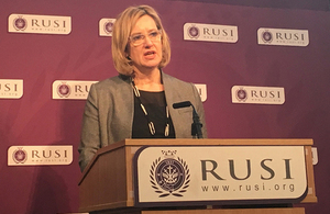 Home Secretary giving speech at RUSI