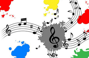 Musical notes on paint splash.